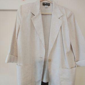 Linen blend vintage blazer 3/4 sleeve